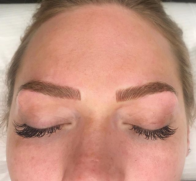Microblading: ✍🏼 Semi permanent tattoo procedure that lasts a year until a touch up session is needed. The first initial session is done,  and 5-8 weeks after a second session is done to ensure the color and symmetry are perfect. #microblading #waterproofbrows #dermaglamskinlab