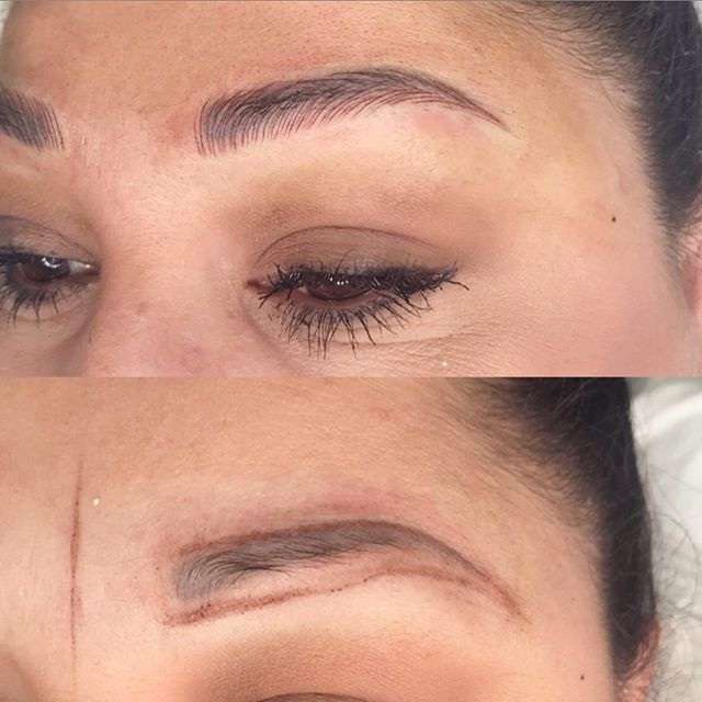 Microblading on top of an old permanent tattoo🖤✍🏼