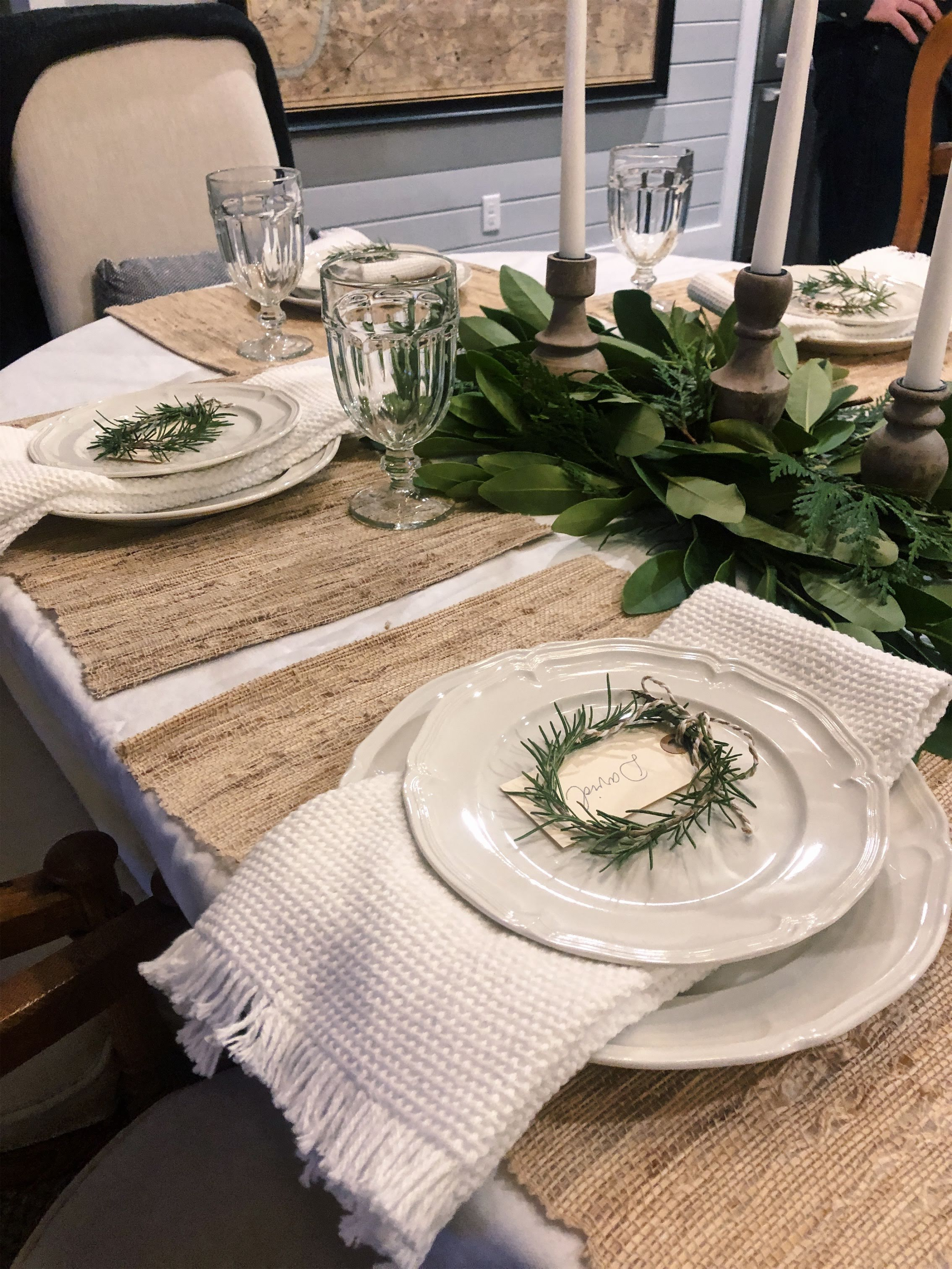 You can't forget to add some kd weave (s) to make your dinner party a success! Here, we used white hand towels as dinner napkins to add some texture to the table. Really love how it all turned out!