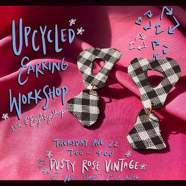 Looking forward to this workshop next week @dustyrosevintage 🥀✂️♻️✨ Come joins us for an evening of making statement earrings from upcycled fabrics and scrap leather!  Participants will learn: • How to properly adhere vintage fabrics to heatnbond •How to plan two-tier drop earring shapes •How to properly adhere fabrics to scrap leather •How and where to create holes for attachment •How to open and attach jump rings •How to attach earring posts  What will be provided: - All tools and instruction - A selection of vintage fabrics to choose from Note: You're welcome to bring your own fabric - Wine - A 15% discount on all purchases that evening (if you like something online, notify us via email and we will have it ready for you)  EARLY BIRD PRICING: $25 before 8/18 $30 after
