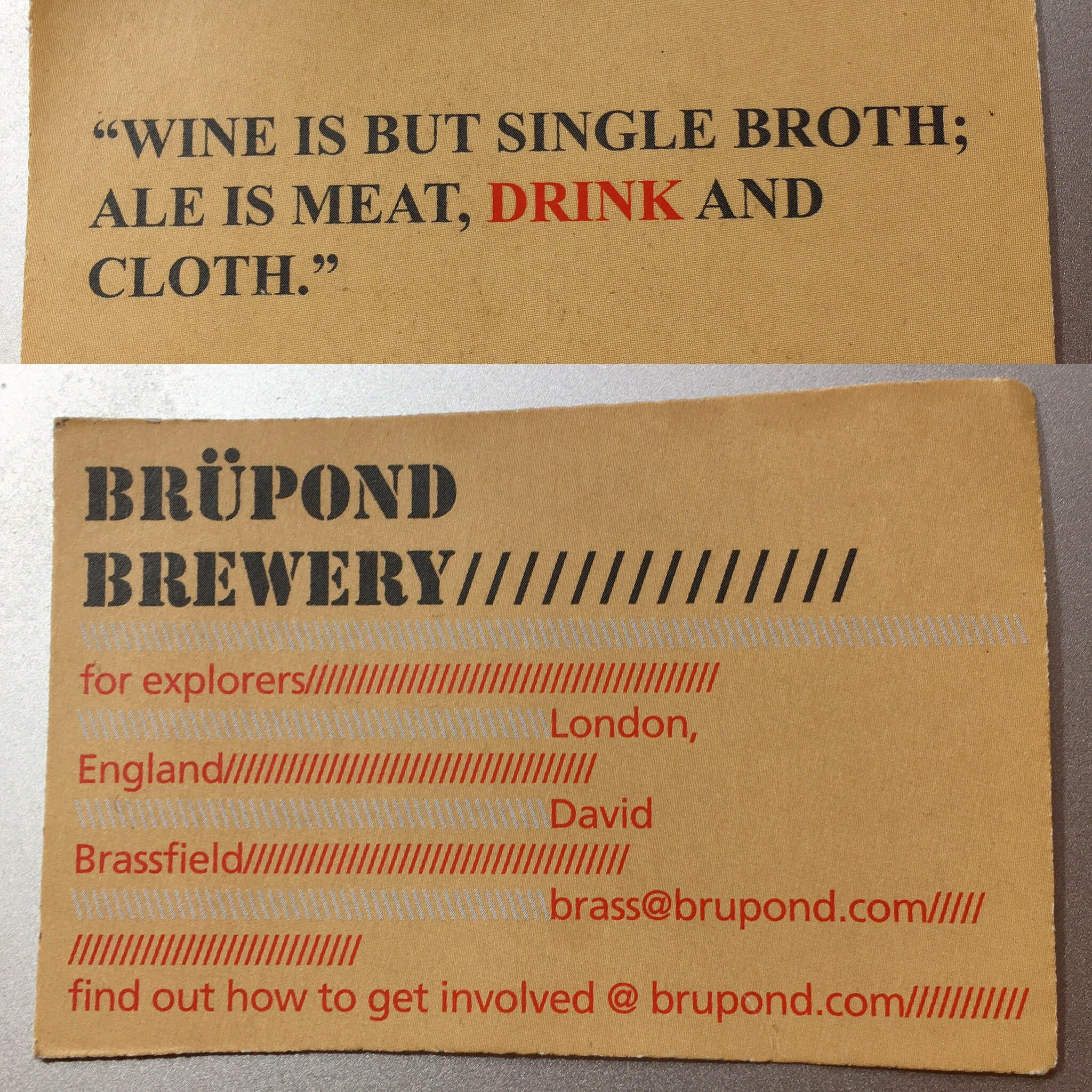 Dravid Brassfield's card, front and back, from the summer of 2012
