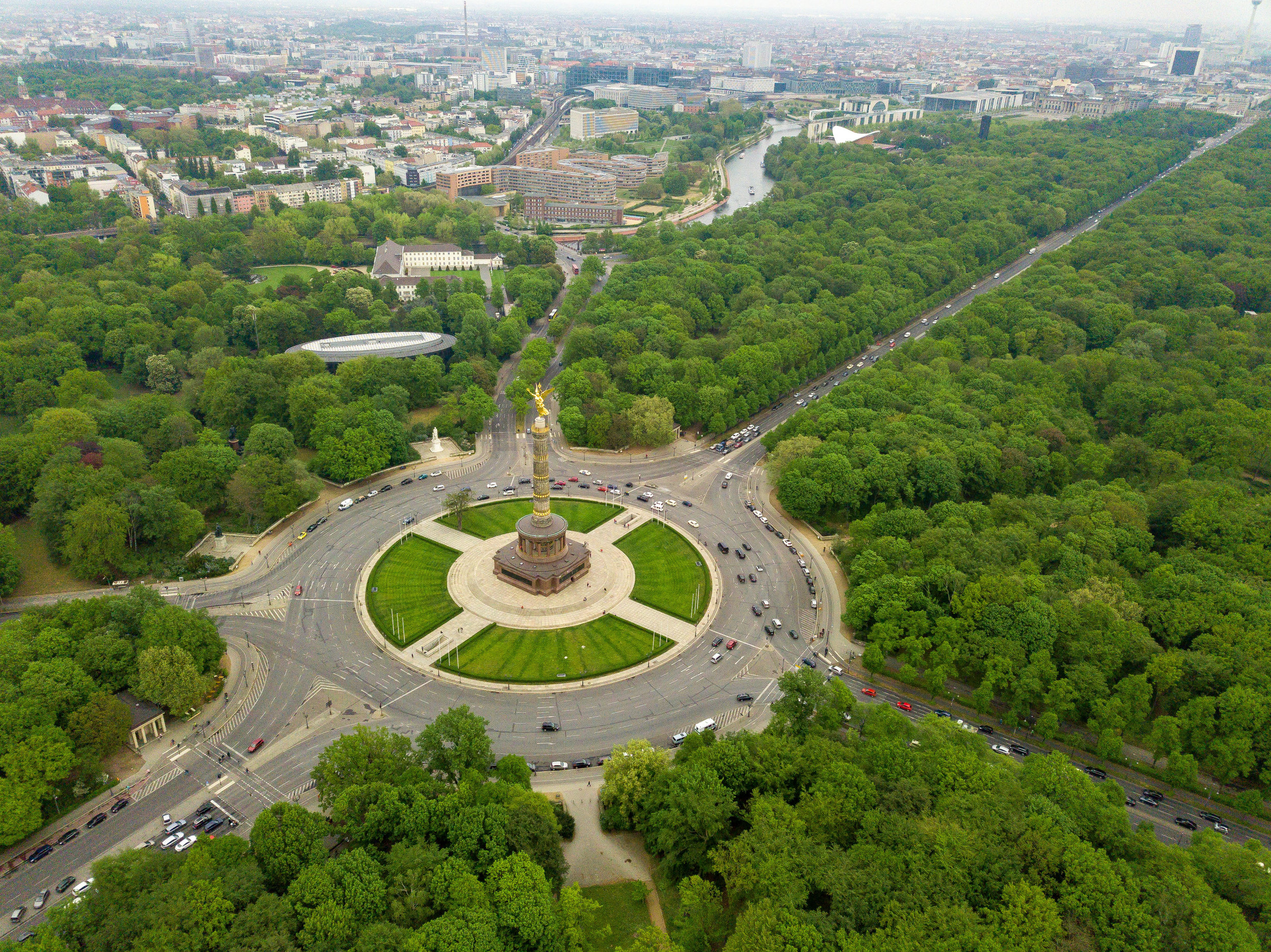 Aerial view of the Victor Column and Tiergarten Park
