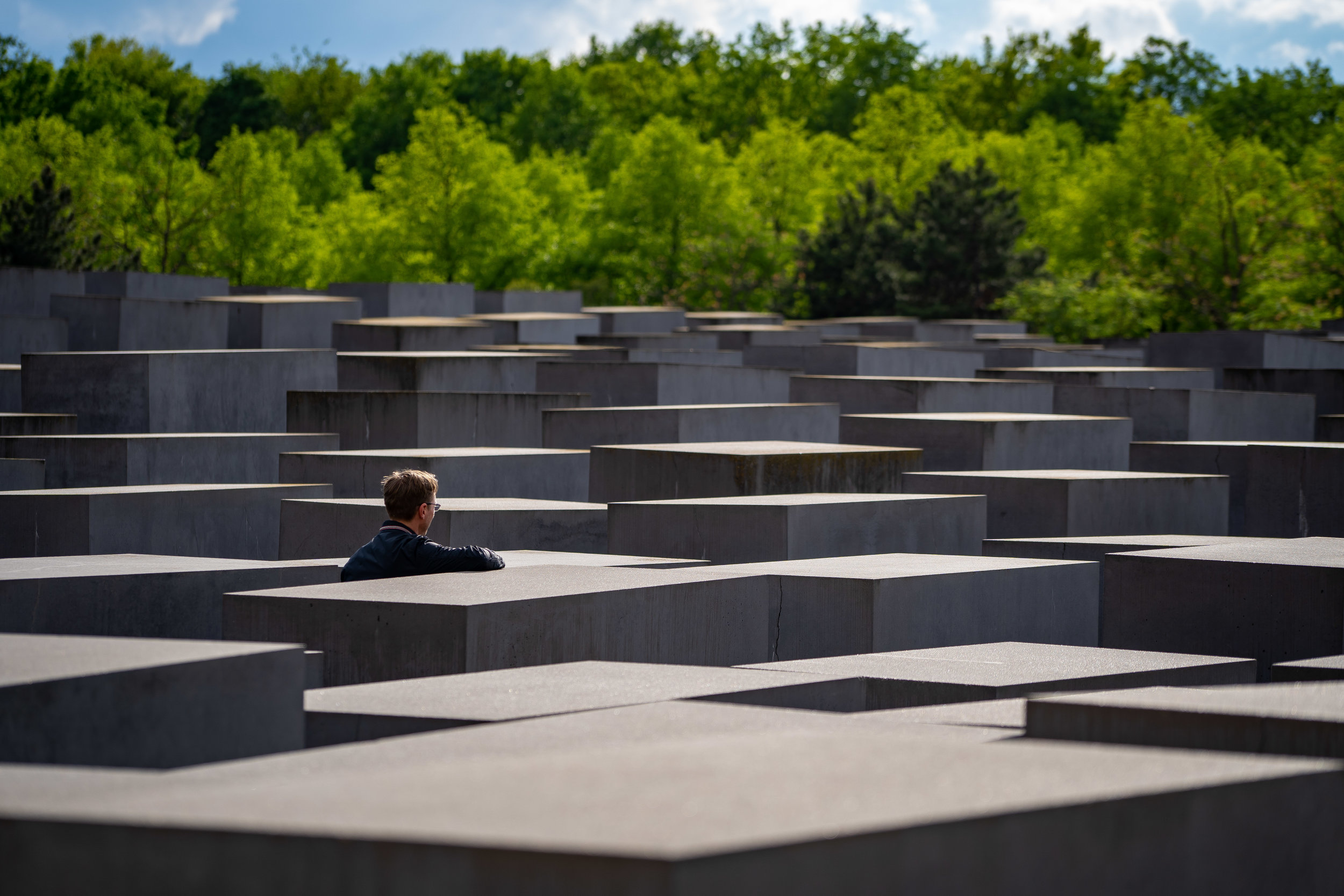 Visitor at the Memorial to the Murdered Jews of Europe