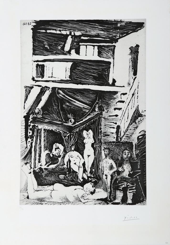 Viejo pensando sobre su vida: juventud galante, edad madura de pintor  célebre, obra creada en un cuchitril y pavoneándose ahora bajo un palio, 1968