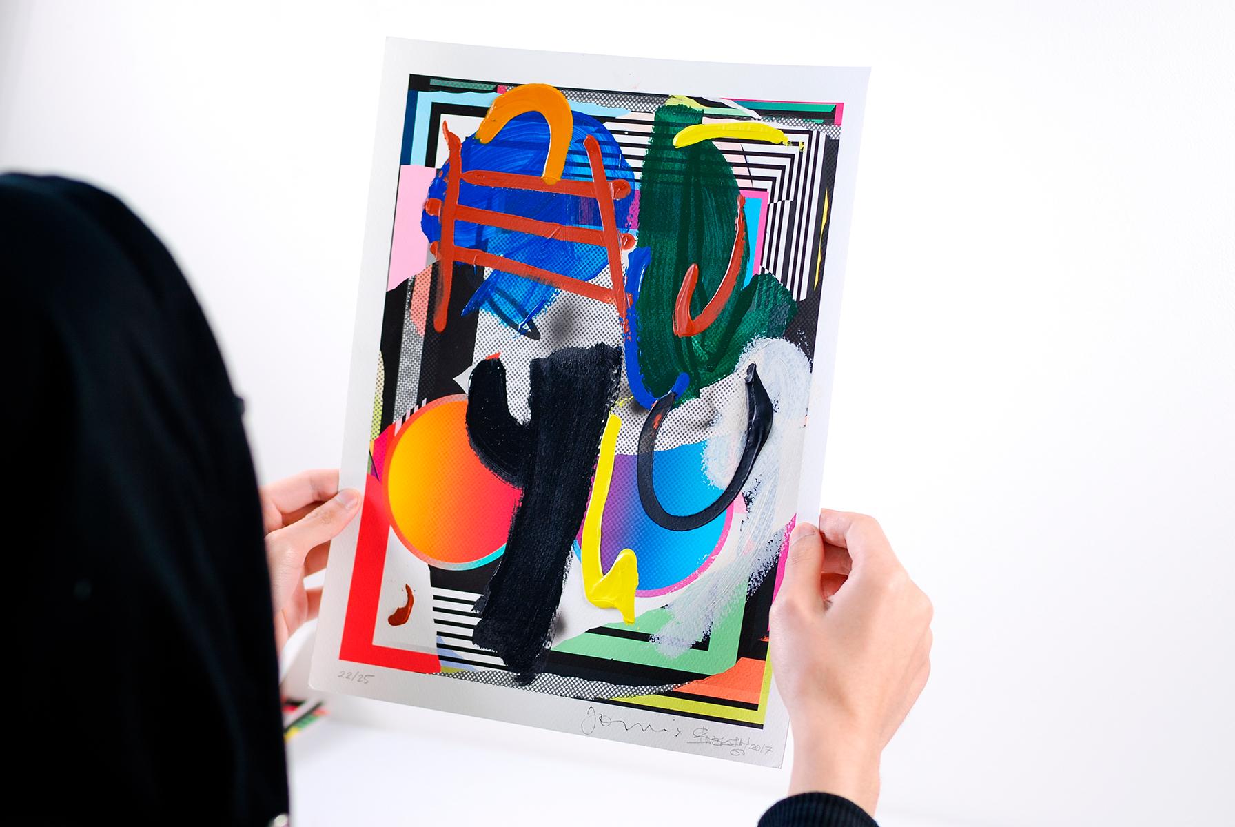Acrylic, enamel, oil stick, pencil on giclee print. 2018