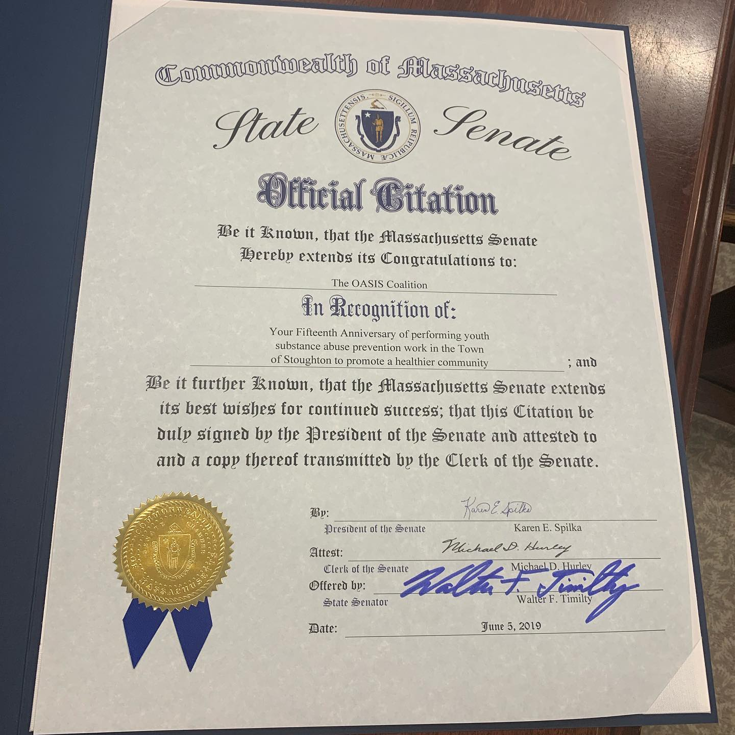 Citation from the State Senate.