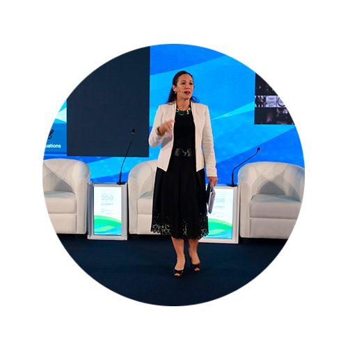 Victoria presenting at a B Corps Summit on stage