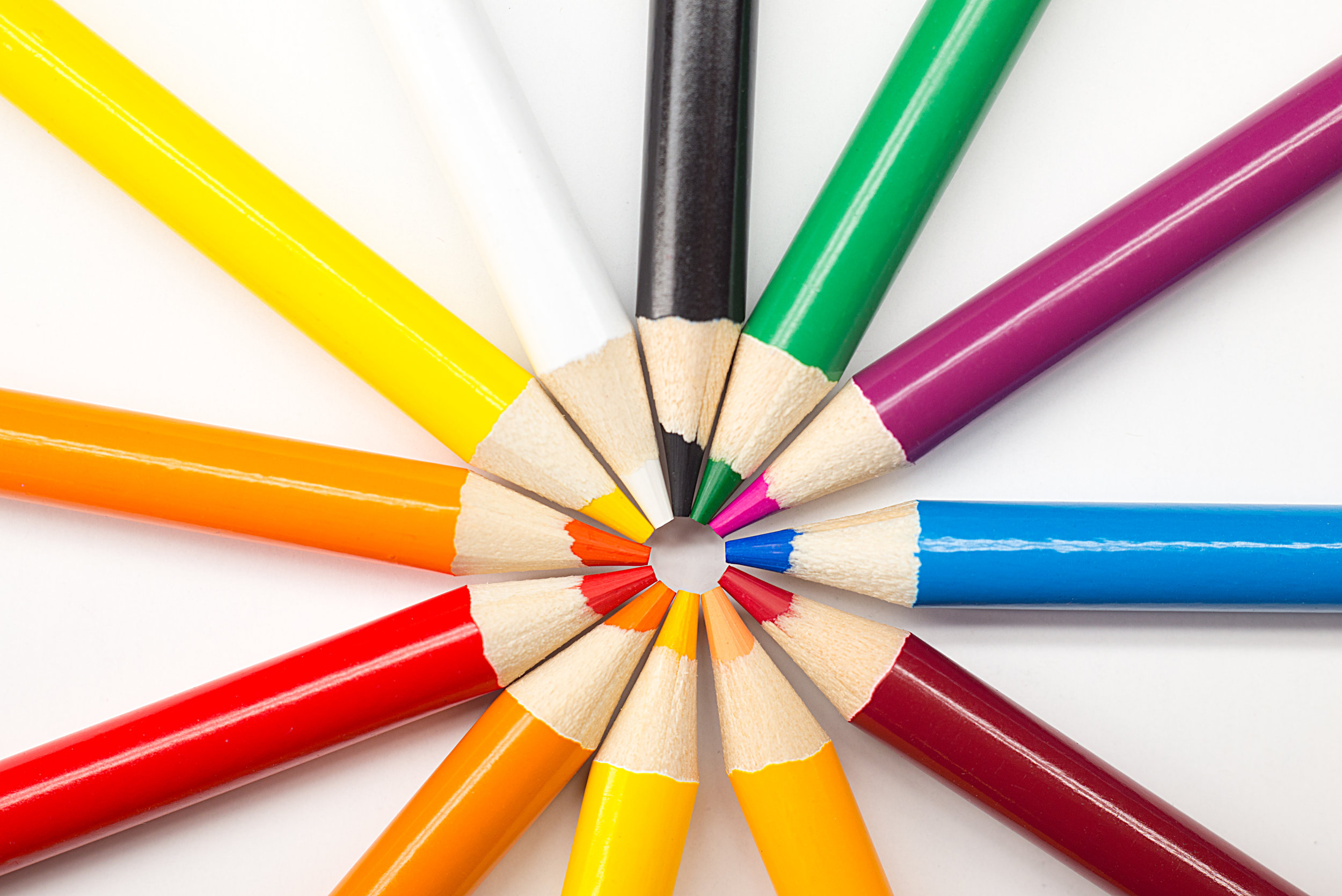 Colorful pencils in a wheel formation. Learn to help children deal with anxiety, fears, stress, anger.