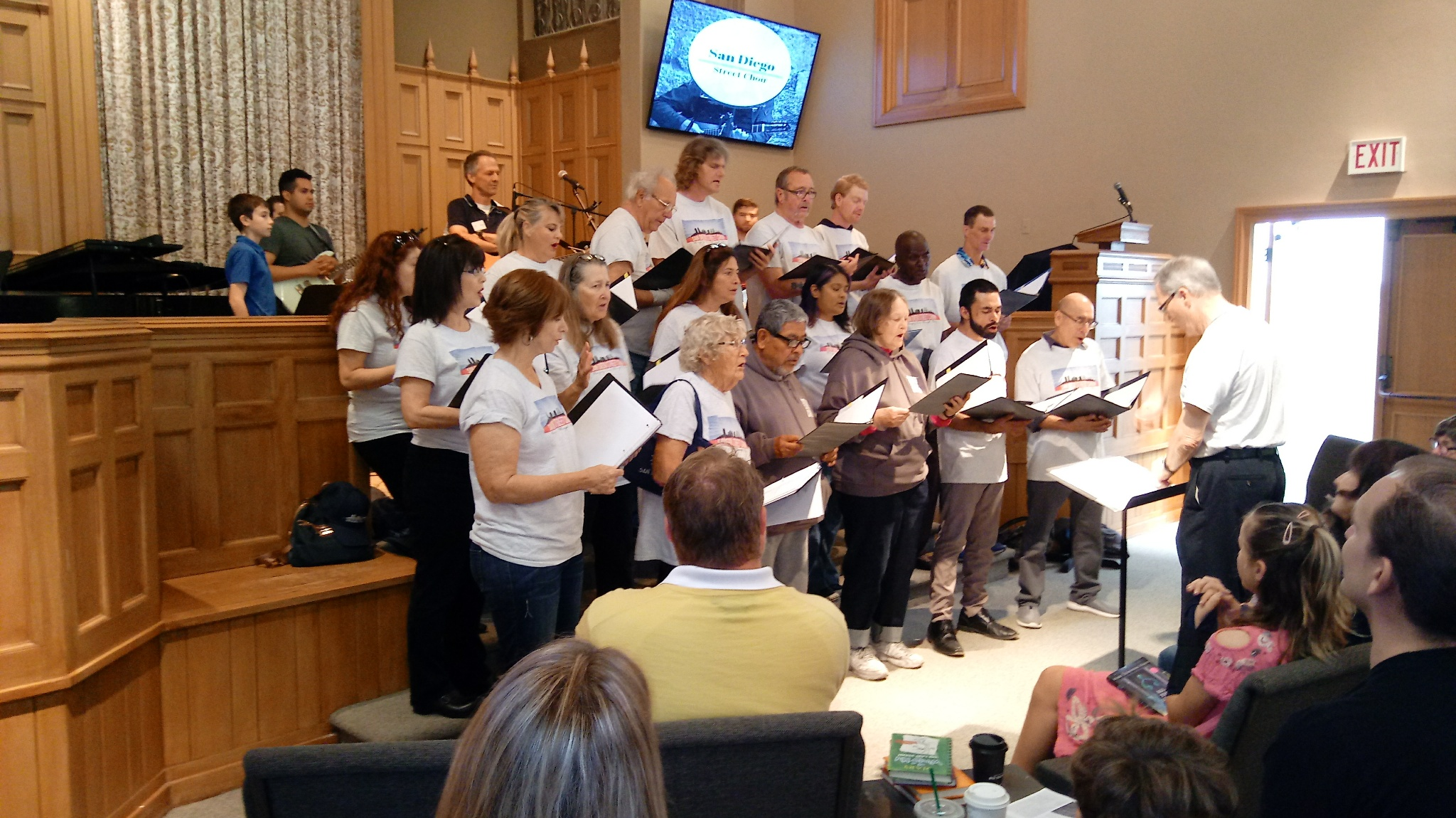 The San Diego Street Choir sings at Point Loma Community Presbyterian Church services.