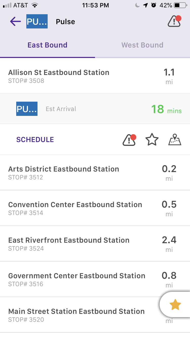 The stops are arranged alphabetically rather than in order of the stops or distance from the user