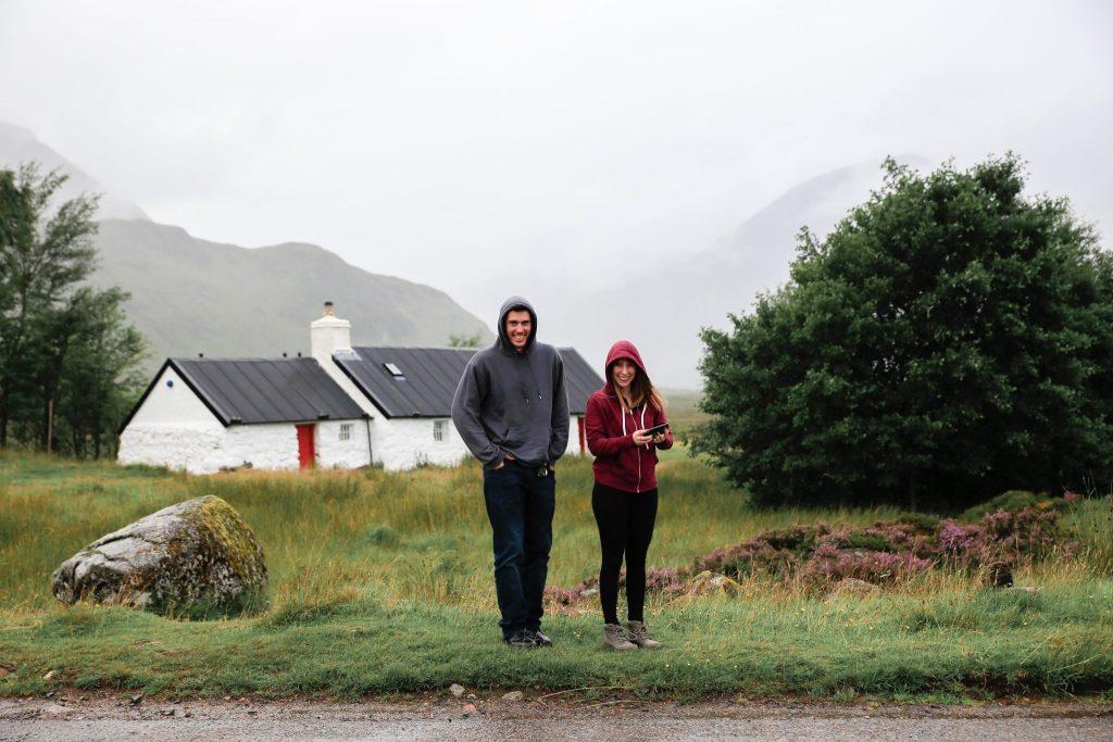 Eirinn and Joe embracing the Scottish Weather