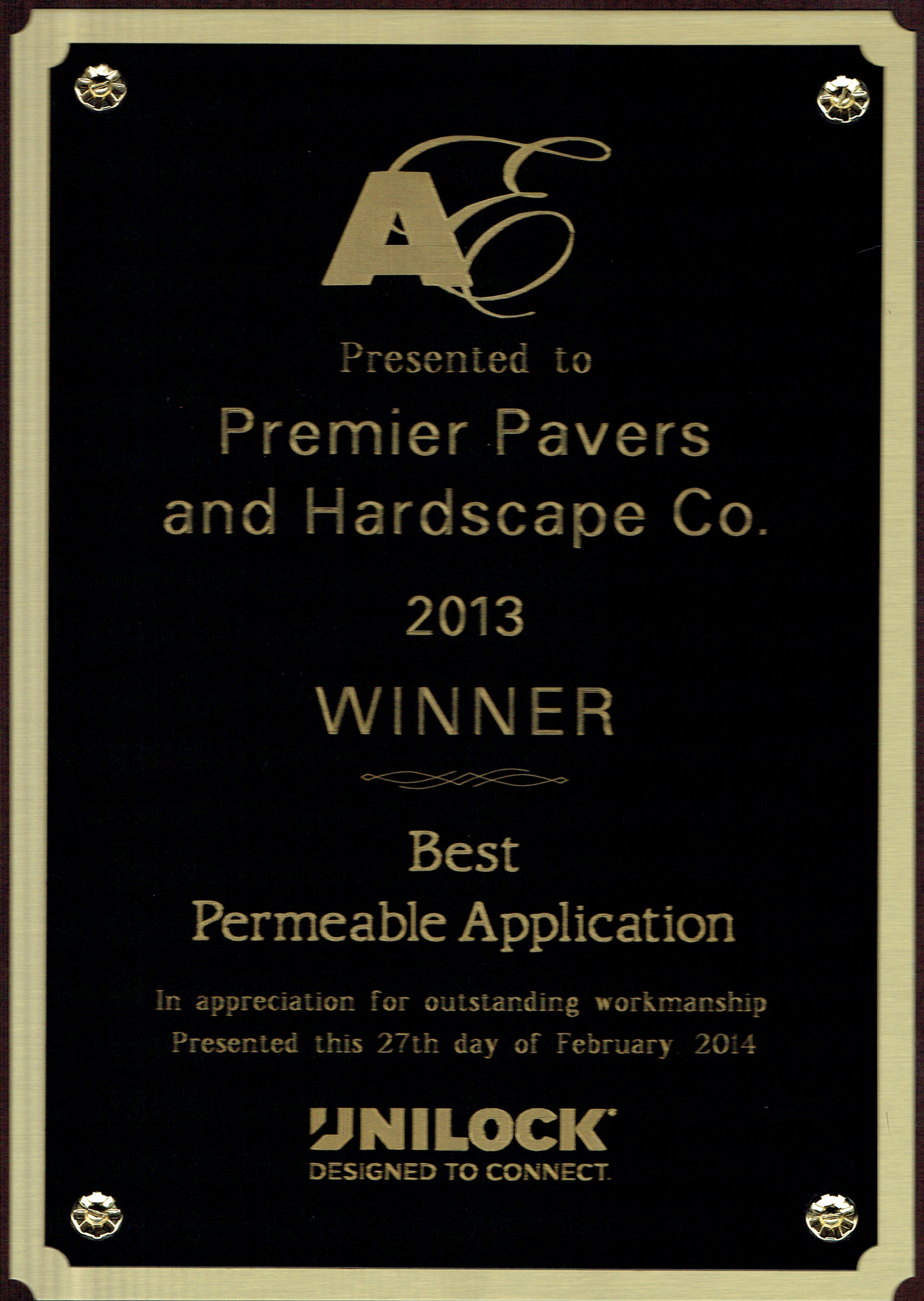 Eastern Massachusetts landscaping company with Unilock award for best permeable application in Newton MA