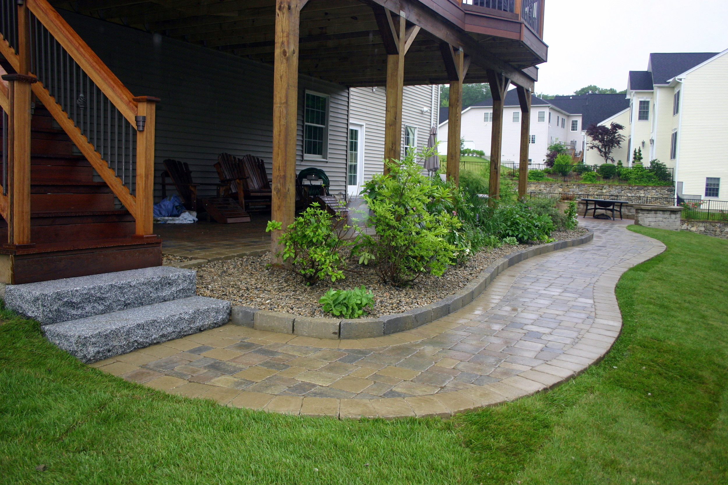 Landscape design with walkwa pavers in Brookline, MA