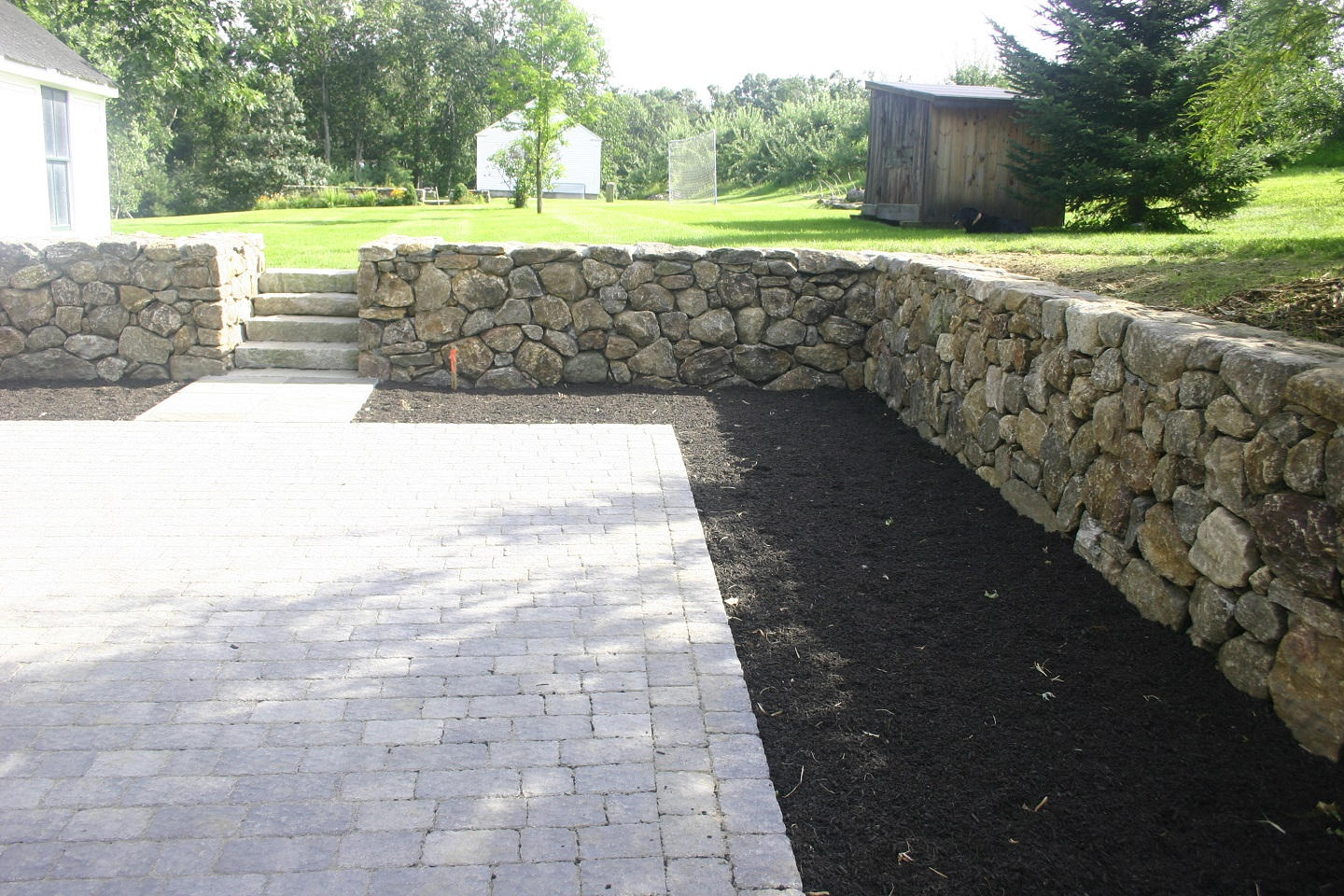 Patio pavers and retaining wall in Arlington, MA