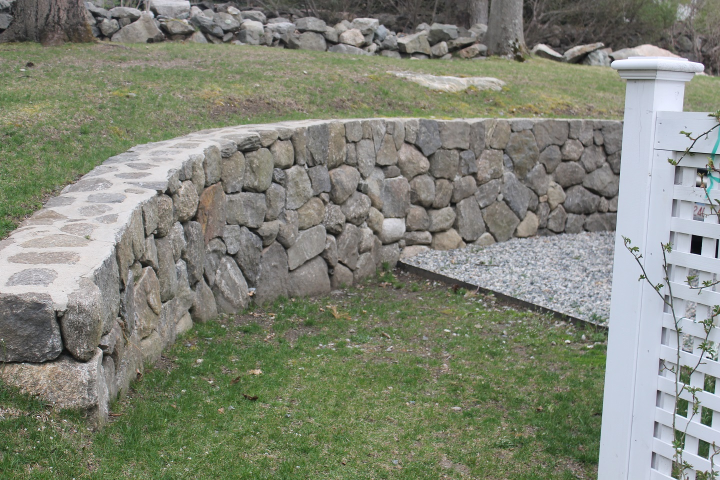 Unilock patio pavers and retaining wall in Wellesley, MA