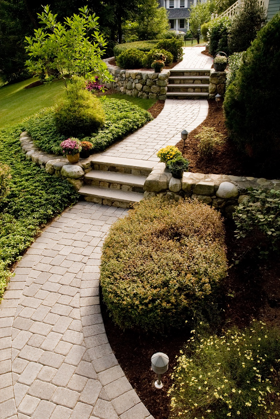 Classic landscape design with top walkway pavers in Arlington, MA