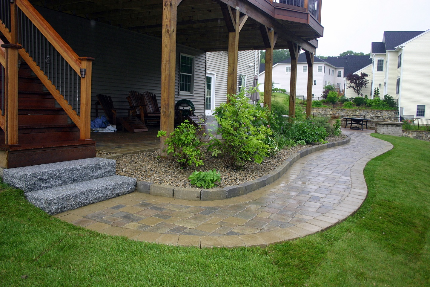 Landscape design with quality walkway pavers in Brookline, MA