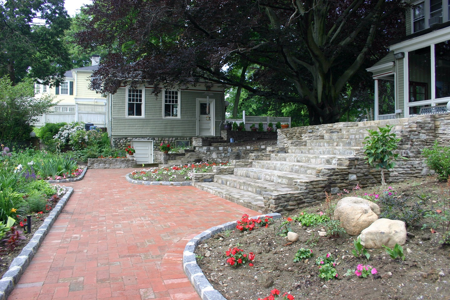 Walkway pavers in Brookline, MA by landscapers near me