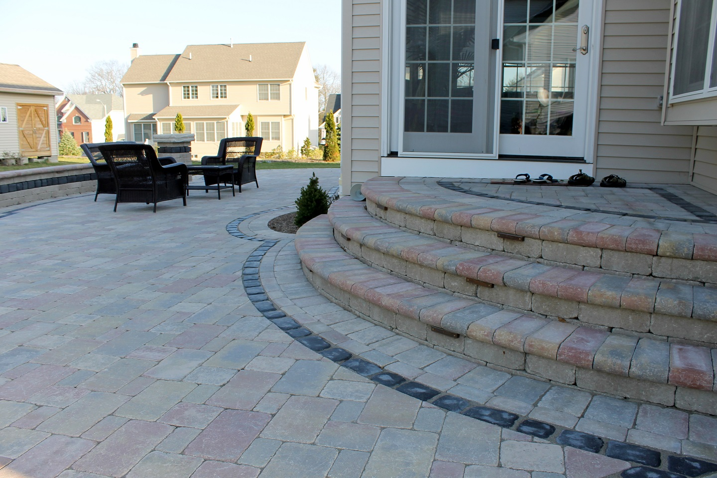 Beautiful patio with steps & entry in Lincoln MA