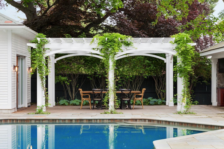 Stunning pool deck in Brookline, MA by experienced deck builder