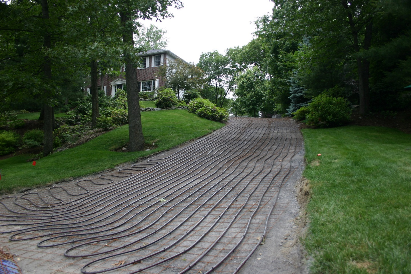 Landscpe design with snowmelt system in Newton, MA