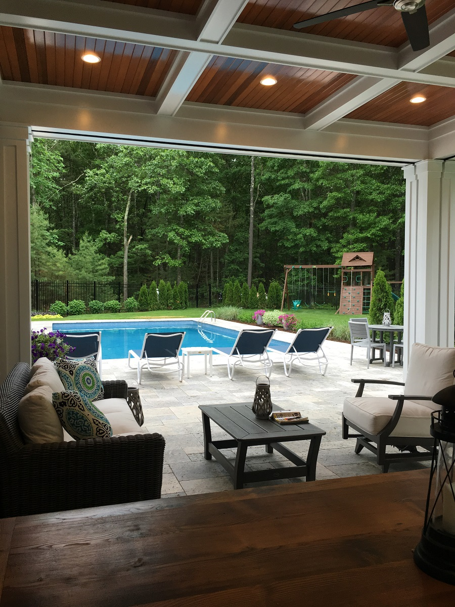 Pool deck with top patio pavers in Wellesley, MA