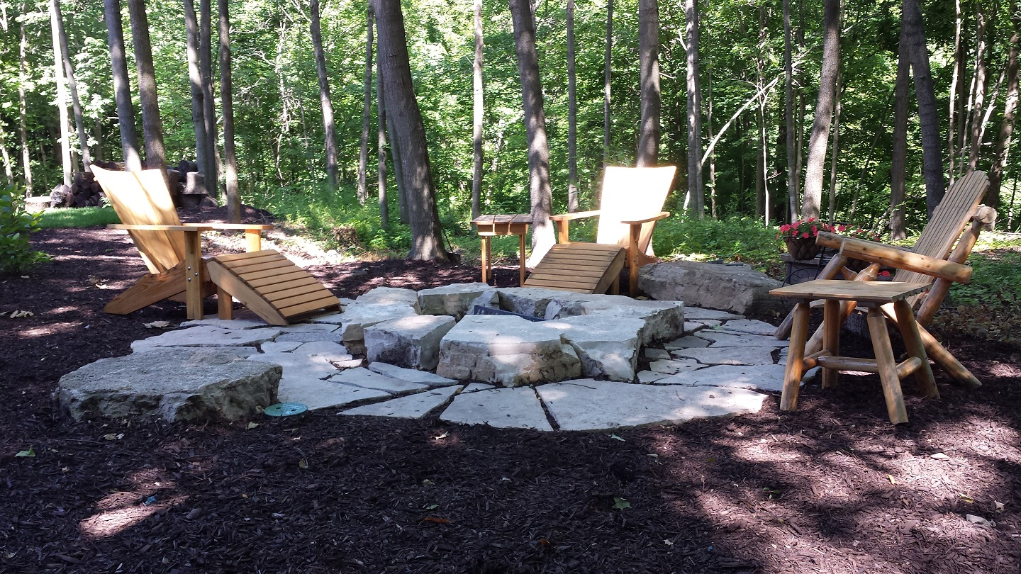 East Peoria, IL stunning landscape design with outdoor fireplace