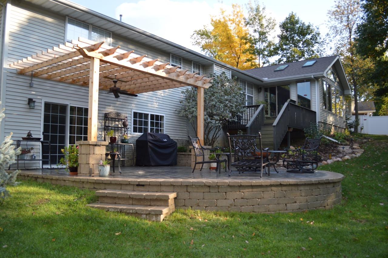 Beautiful patio with pergola in East Peoria, IL