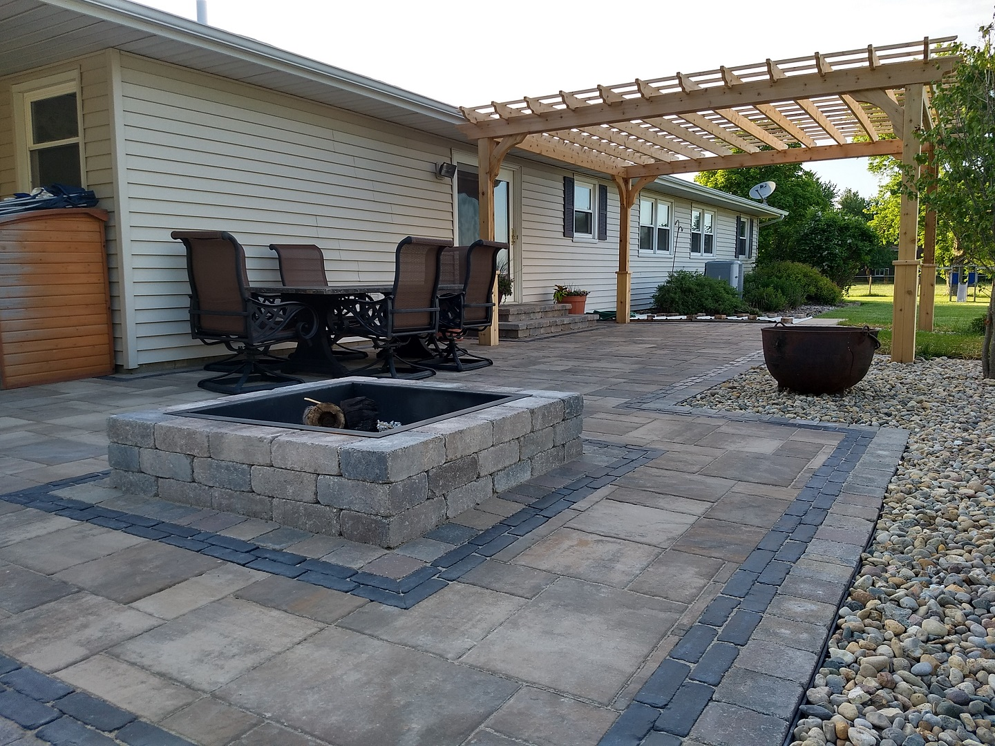 Landscape Design with fire pit in East Peoria, IL