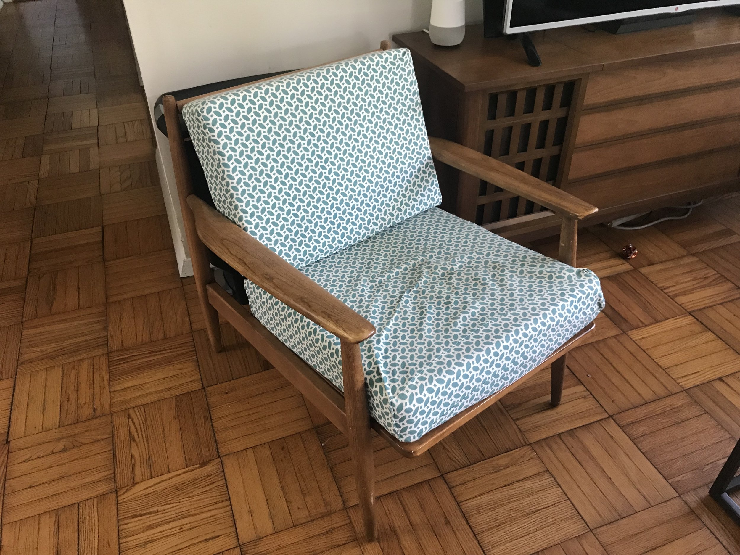 Chair! - Wood frame with custom cushions that Erin sewed