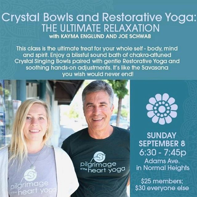 Hope to see you this Sunday for Crystal Bowls & Restorative Yoga. Relax and Rejuvenate! . . . . #crystalbowls #crystalsoundhealing #soundbath #soundbowls #soundhealing #singingbowls #singingbowl #meditation #vibrationalhealing #stressrelief #takeaminute #crystalhealingvibes #soundmeditation #healingsounds #soundscape #sandiegoyoga #crystalbowlmeditation #crystalsingingbowlmeditation #relaxation #northpark #normalheights #sdyoga #sandiegosoundhealing