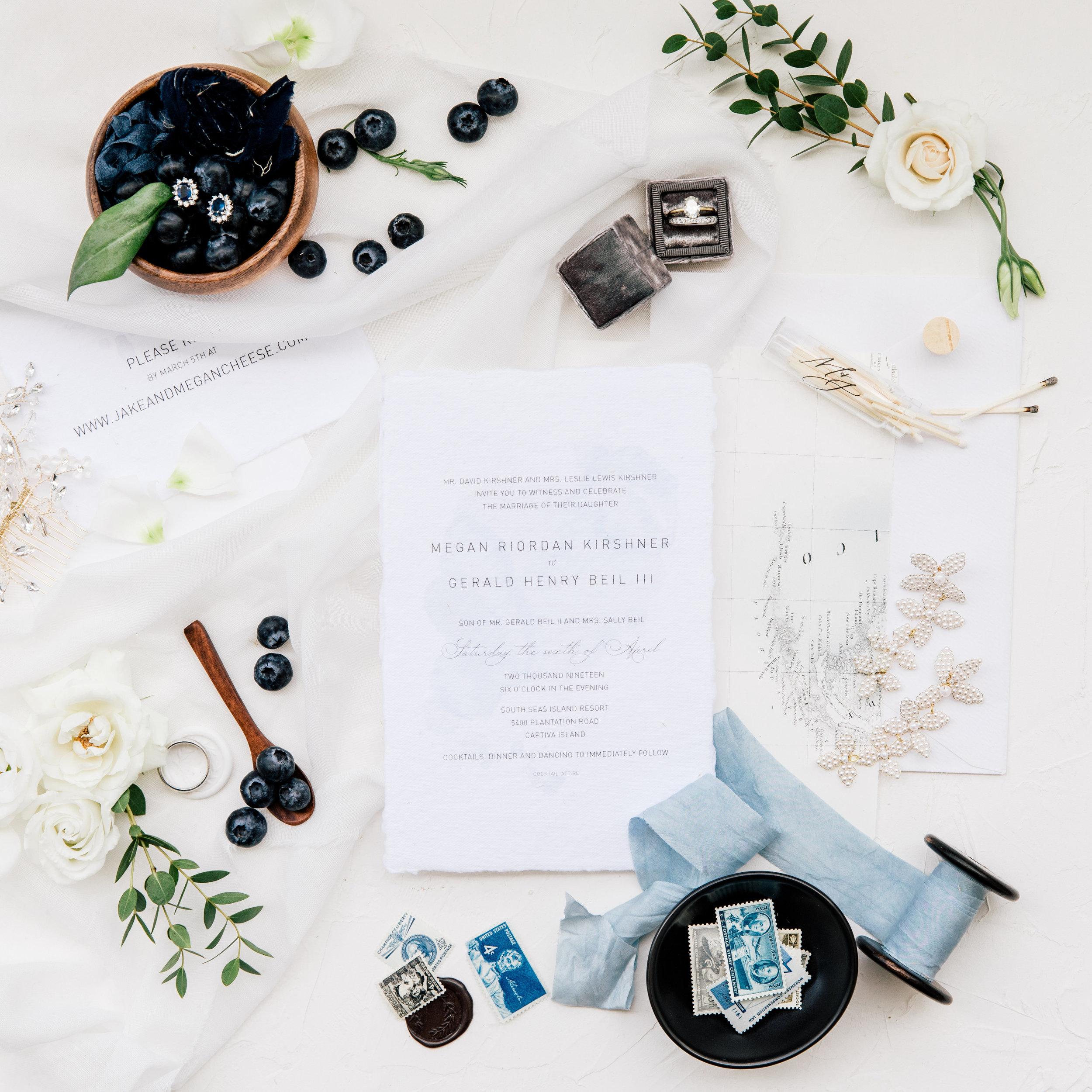 South Seas Wedding Blue white gray beach destination invitation jet set wed