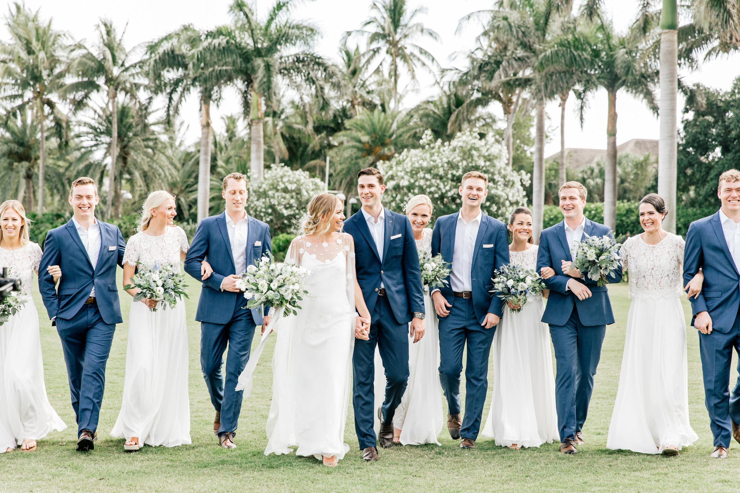 South Seas Wedding Blue white gray beach destination jet set wed bridal party