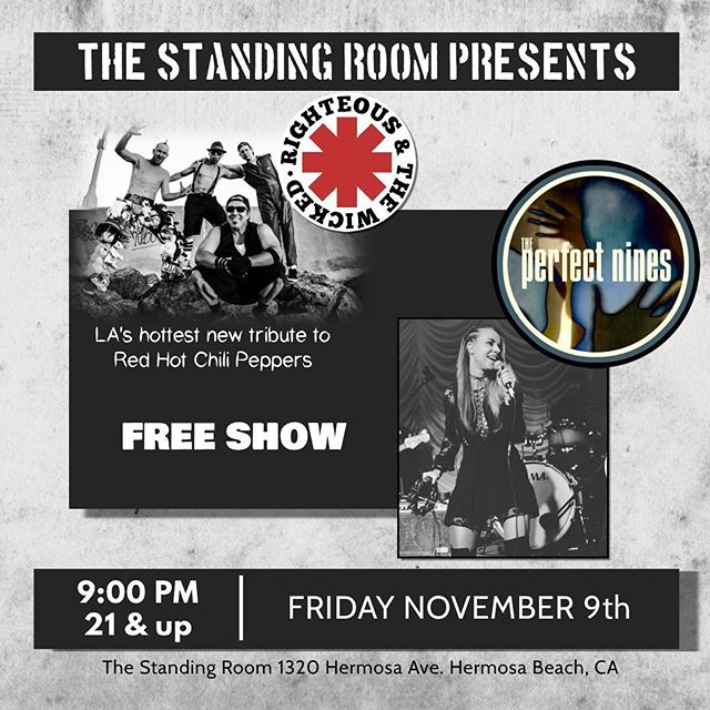November 9th at 9pm @perfectnines Time to rock out again, this time with our friends The Wicked and The Righteous @redhottributeband at the Standing Room @thestandingroomhb in Hermosa Beach. Free show! ❤️ 🎸 💃🏼 . . . . . . . #rockshow #boholife #bohemian #artist #rockband #fashiondesigner #musicmeetsfashion #music #singersongwriter #singer #musiclove #songwriter #songstress #voice #indie #boholife #boholove #bohorock #boholove #bohemianbabe #bohemianrocker