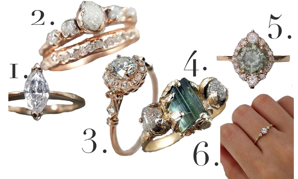 Alternative engagement rings, from vintage to clusters to Moissanite.