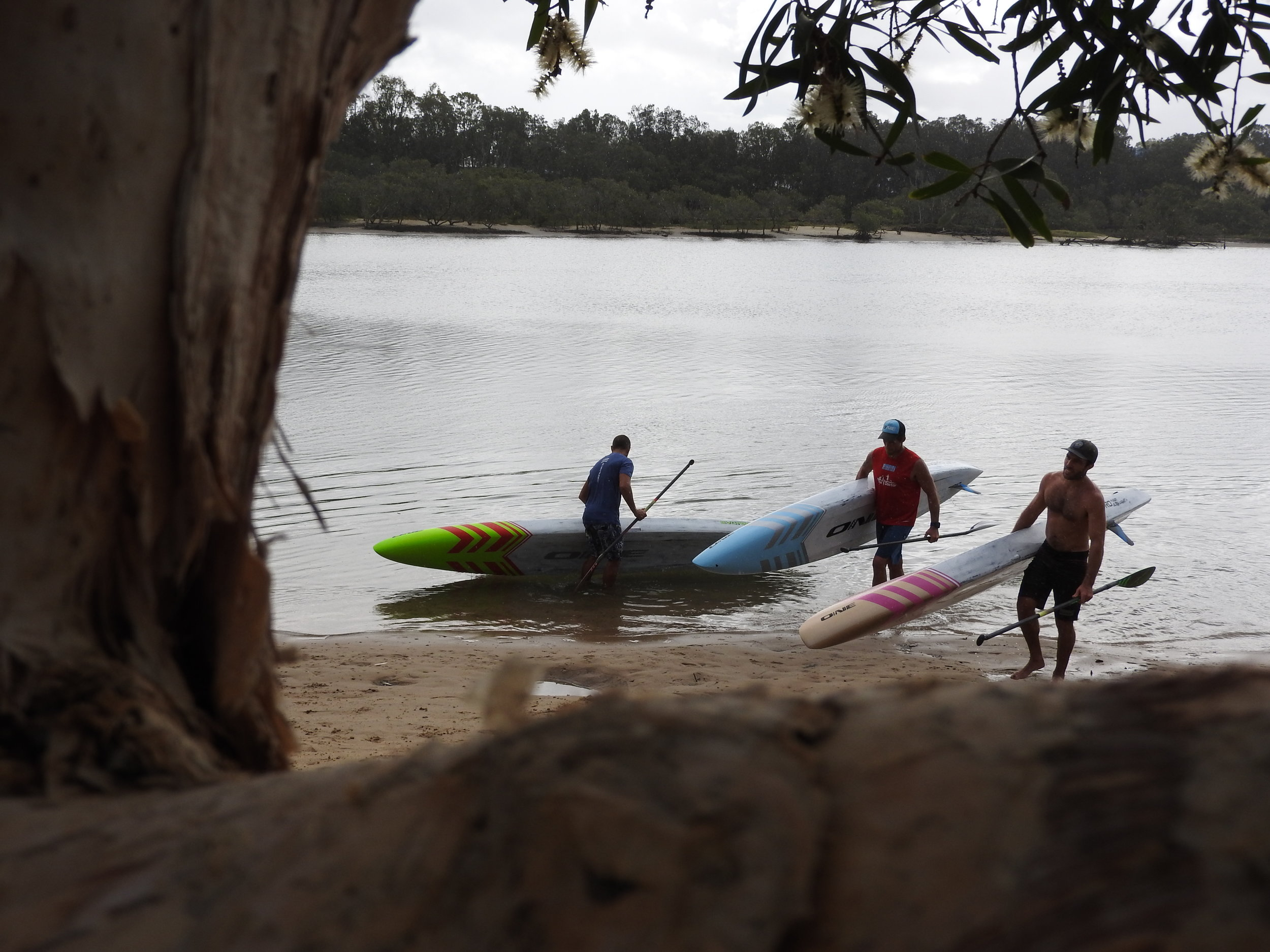 Jacko, Steve and Ben Testing Boards in Currumbin Creek / ONE HQ