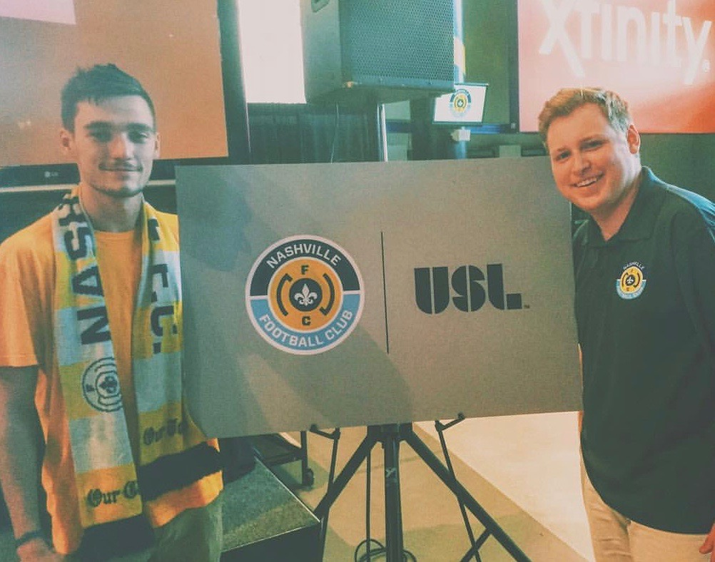 Brian Taylor (left) with Aaron Grisham on the day of the USL announcement.