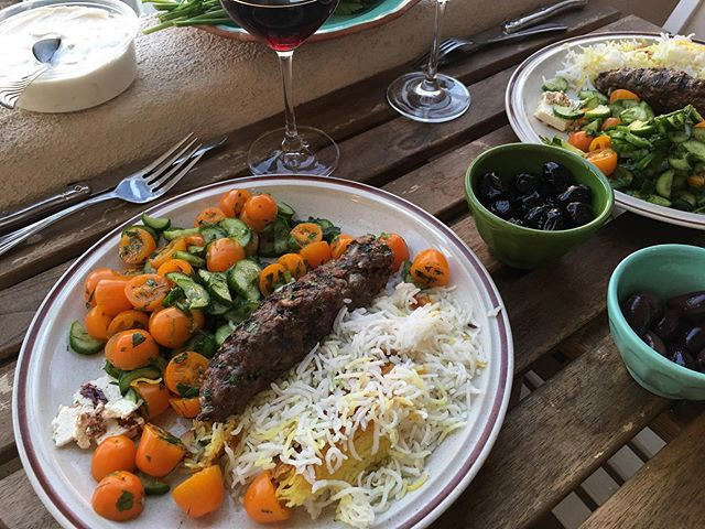 Şiş köfte, goat labneh, rice, tomatoes, cucumbers, olives. New obsession: adding sumac to everything.