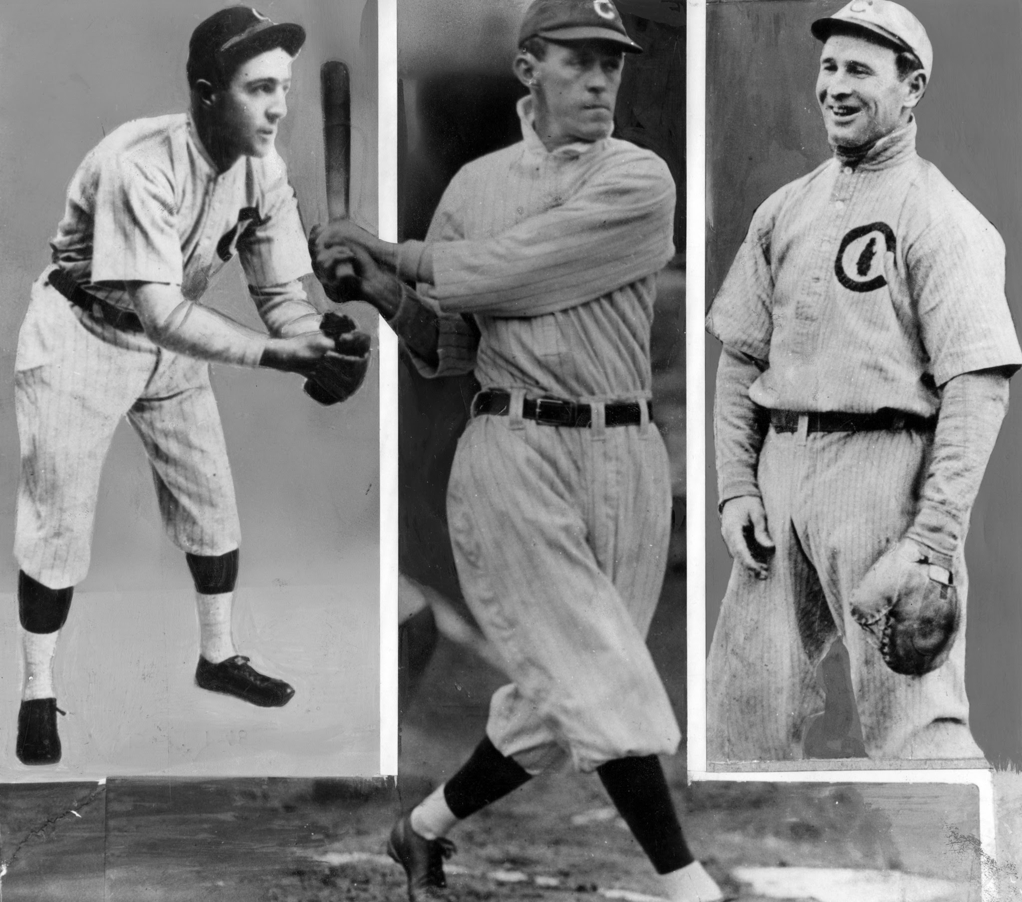 Joe Tinker, Johnny Evers, and Frank Chance of the Chicago Cubs