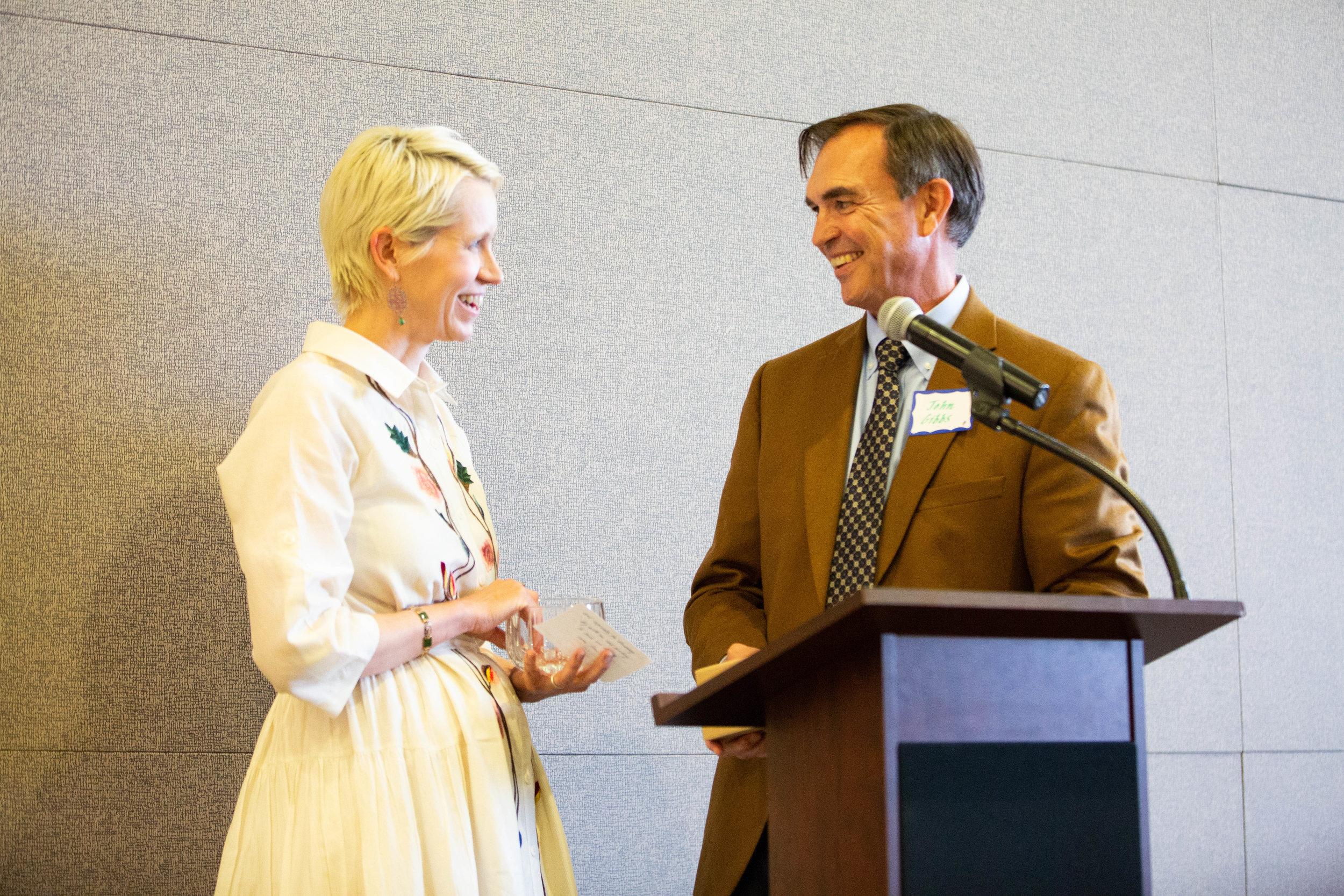 Andrea Specht and Board Member John Gibbs