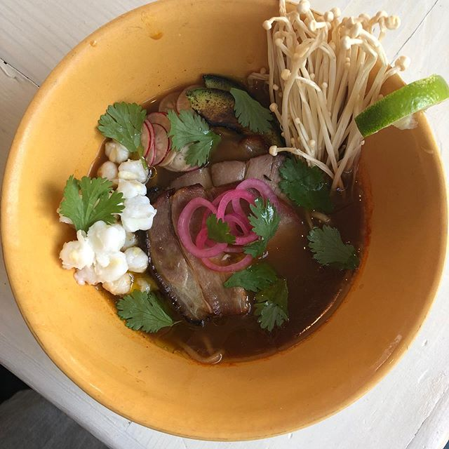 New pazole ramen special tonight and tomorrow. With toasted masa ramen noodle. Ancho/soy roasted pork shoulder. Hominy. Enoki.