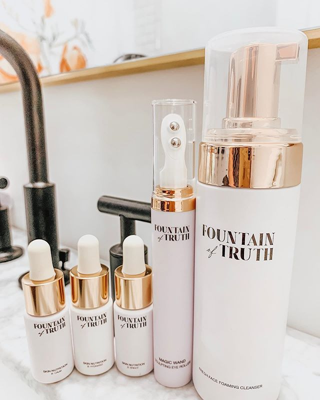 New lineup of skin goodies from @fountainoftruthbeauty🤗 👉🏻Fresh Face Foaming Cleanser | does not leave your face feeling stripped of moisture. It contains moisturizing super-fruit kakadu plum extract and matcha green tea with an AHA fruit melody that gently exfoliates leaving skin smooth and bright. 👉🏻Magic Wand Sculpting Eye Roller |  This double roller applicator is generally fun to use but also is effective in stimulating microcirculation. Caffeine extract lessens dark circles and puffiness. 👉🏻Skin Nutrition Booster Kit | B: Bright, B: Hydrated, B: Calm can be added to your moisturizer or serum depending on what your skin needs at a given time. 💛Still love there packaging and am excited to use these more. . . .  #beautyconcierge  #alyssaciffone