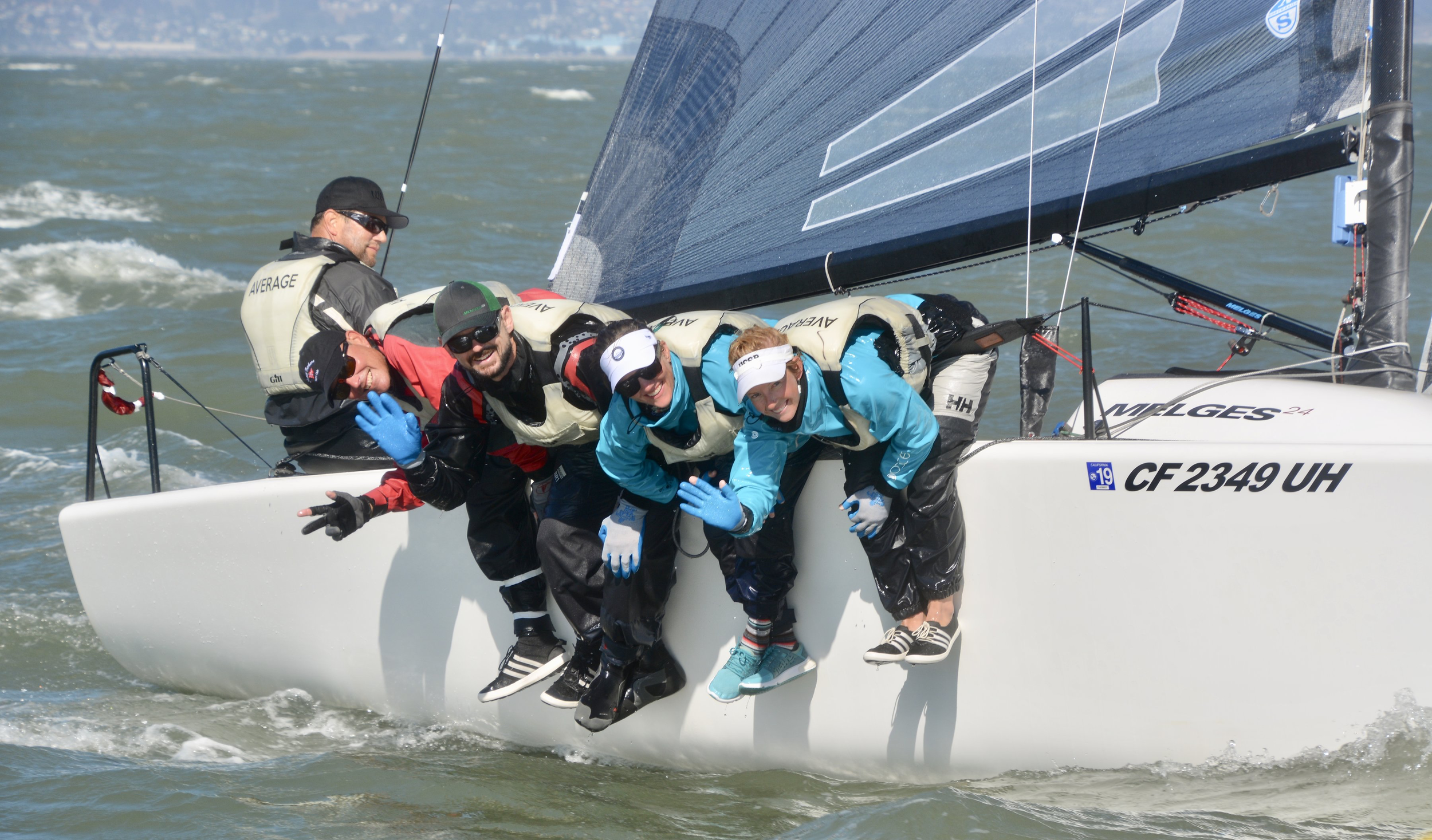 M24 NorAm Tour (Corinthian) Champion -    USA549 AVERAGE, Santa Barbara, California;Kent Pierce- helm & co-owner, Eric Stokke-jib, downwind tactics & co-owner, Jon Bell- upwind tactics, spin ,Lauren Bell-mast/Sarah Schaupeter-bow - Photo:    sfycphotos.com    The Corinthian division was won by Kent Pierce's USA549 AVERAGE, which placed an impressive 8overall with a score of 60 points. Laura Grondin's USA850 DARK ENERGY finished 13th overall and 2nd in the Corinthian Division with 50.7 points. Duane Yoslov's USA855 LOOPER was 14th overall, and 3rd in the Corinthian division with 49 points. Bob Britten's CAN415 FULL CIRCLE (47.3 points) and MacGregor/Hammer's USA806 GOOD ENOUGH (42.6 points) finished the tour at 4th and 5th respectively.  The three-staged tour boasted a top-flight international fleet of forty-nine Melges 24's sailing in two spectacular venues on the west coast of the North American continent - Victoria, British Columbia and Belvedere, California.