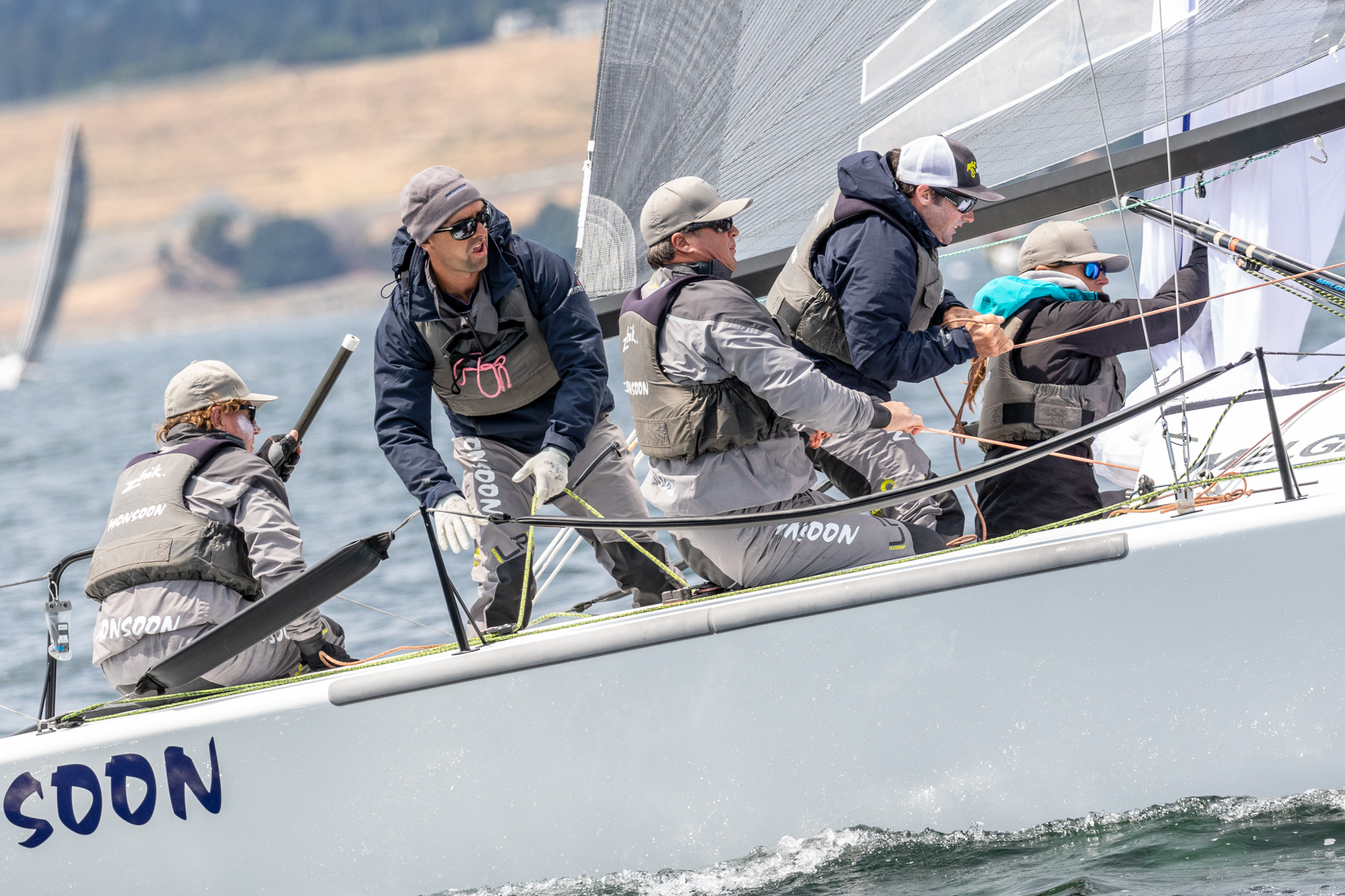 2018 Melges 24 Canadian National Champion    - USA851 MONSOON, Newport Beach, California;Bruce Ayres - helm, owner, Jeff Reynolds - spinnaker, Mike Buckley - jib & tactics,Chelsea Simms-mast, George 'Bear' Peet - bow - Photo: IM24CA/ZGN    STAGE 1 - 2018 CANADIAN NATIONALS, VICTORIA, BC  (June 2, 3) Following a month of exhilarating training in solid planing conditions Victoria was beset with uncharacteristic light air. To no one's surprise, Melges 24 class stalwart and light-air wizard from Newport Beach, California Bruce Ayres' A851 MONSOON carried the weekend. Hot on MONSOON's tail was Alan Field's USA829 WTF out of Southern California and Richard Reid's CAN853 ZINGARA of Port Credit, Ontario.