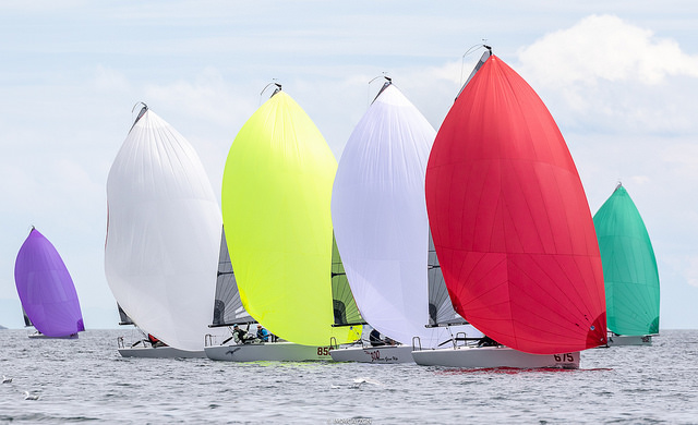 Downwind sailing on Day One of the Melges 24 World Championship 2018 - Photo (c)IM24CA/Zerogradinord