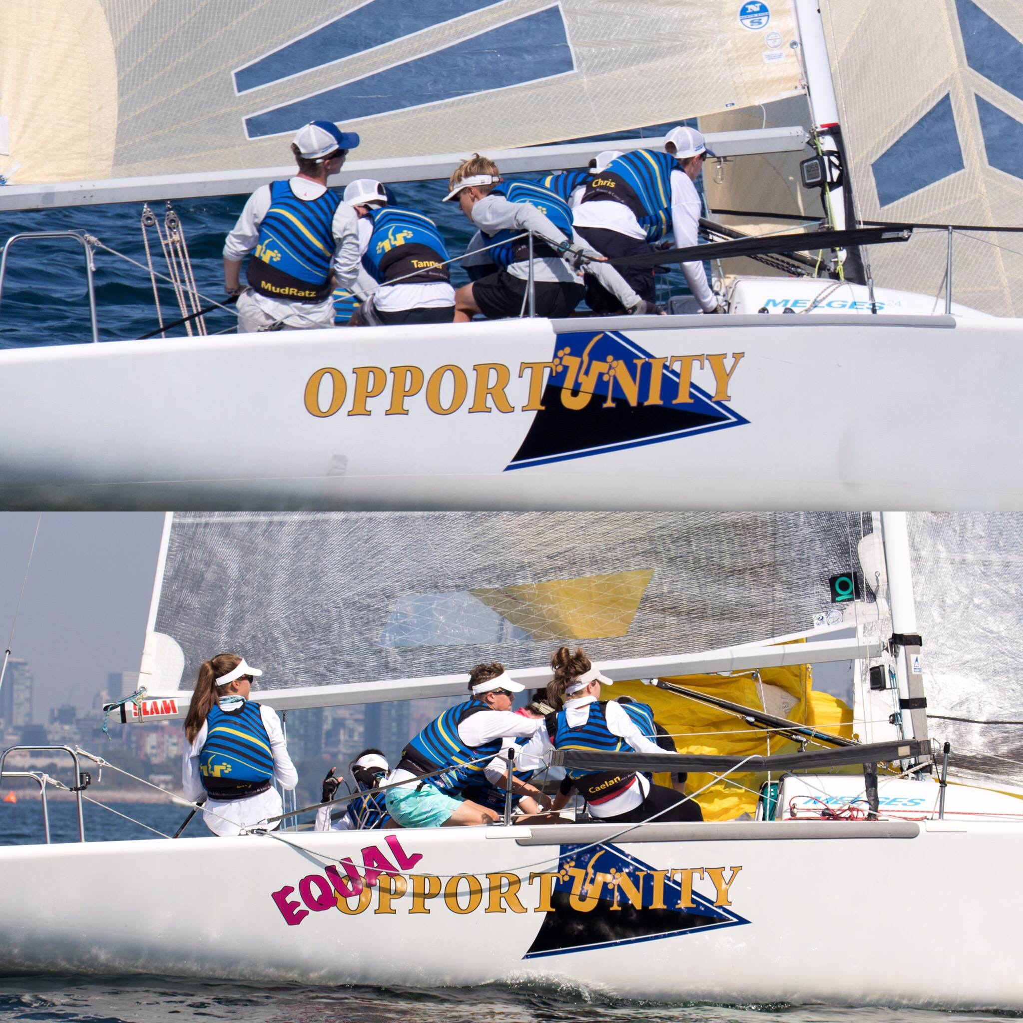 """""""Not only has being a youth sailor on a Melges 24 given us opportunities to sail against some of the best pro sailors in the world, we have also been able to create friendships with tons of people,""""  said Lily Flack, helm of  MudRatz EQUAL OPPORTUNITY.   The  Velocitek Award (ProStart)  for the  Most Inspiring Team  went to  TEAM MUDRATZ  out of Stonington/Mystic, Connecticut. Two high school teams of boys and girls have been training for a couple seasons and were right in the mix at the Canadian Nationals with a boat finishing near mid-fleet in the Tour standings.   """"It's the perfect blend between speed and difficulty to sail. It pushes the sailor to go faster, and it's a blast!"""" -  Peter Cronin Helm,  MUDRATZ OPPORTUNITY"""