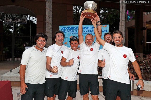 The highest ranked Corinthian team in the Melges 24 World Ranking 2016 - Marco Zammarchi's Taki 4 ITA778 with The Challenge Henri Samuel Trophy at the 2016 World Championship prize giving in Miami - photo (c) Pierrick Contin