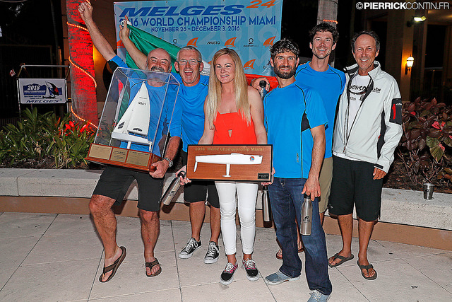 The winner of the Melges 24 NorAmTour 2016 - Conor Clarke's Embarr IRL829 victorious with the Melges Performance Sailboats Trophy at the prizegiving of the 2016 Melges 24 World Championship in Miami - photo (c) Pierrick Contin