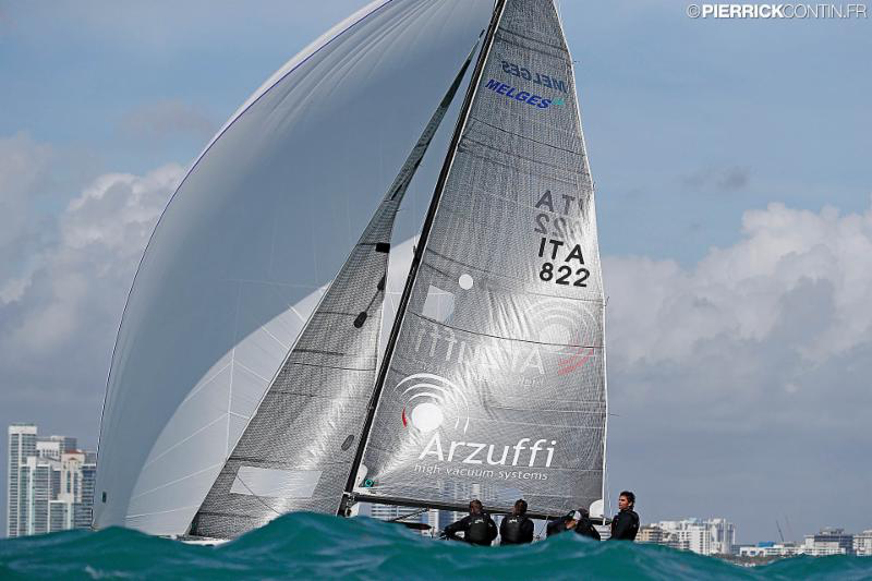 Gian Luca Perego's Maidollis 3 ITA822 with Carlo Fracassoli helming - 2016 Melges 24 World Championship - Miami - Day 1 - photo (c) Pierrick Contin