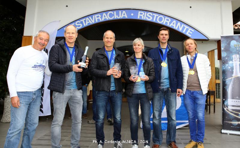 The winner team of the Marina Portoroz Melges 24 regatta 2019 Lenny EST790 with Tõnu Tõniste, Toomas Tõniste, Maiki Saaring, Tammo Otsasoo and Ants Haavel . Photo (c) Andrea Carloni/IM24CA/ZGN